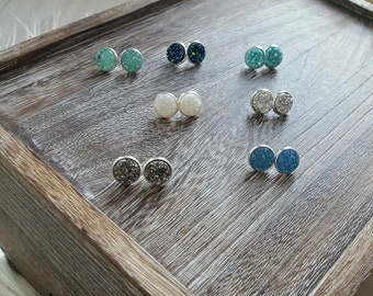 Druzy Earrings / Druzy Studs / Sparkly Earrings / Gift for Her / Gift for Friend / 12MM Studs / Silver back / Faux Druzy / Glitter Studs