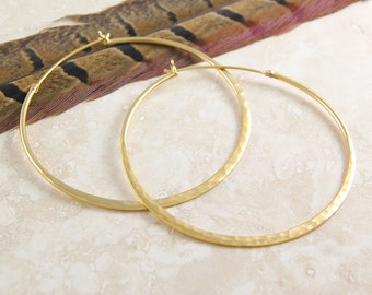 Large Gold Hoop Earrings, Hammered Hoops