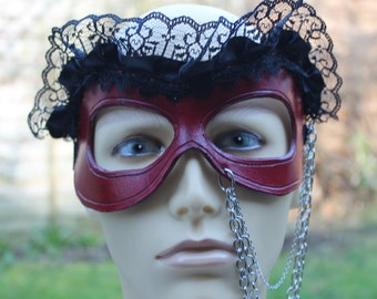 Red Leather and Black Lace Masquerade Mask with Chains / Cosplay Mask / Festival Mask / Goth Mask
