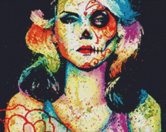 Modern Cross Stitch Kit By Carissa Rose ' Blondie - Day of the Dead