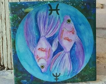 Zodiac Wall Decor - Gift For Pisces - Decorative Ceramic Tile - Fish Painting - Neptune Art - Ceramic Tile Wall Art - Galaxy Art - Space Art