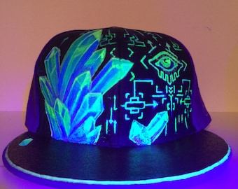 Crystal specimen leather UV painted grassroots flatbill fitted size 8 ooak