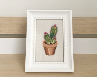 Cactus cross stitch with wooden frame