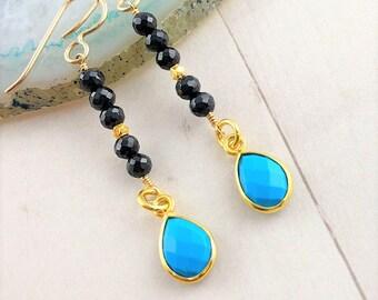 Turquoise Long Dangle Earrings, December Birthstone Jewelry, Garnet Beaded Earrings, Multi Gemstone Jewelry, Boho Luxe, Gift for Her