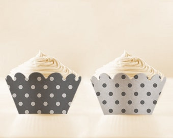 Cupcake Holders Grey Wrappers Polka Dots Liners Printable Set fathers day party 12/15