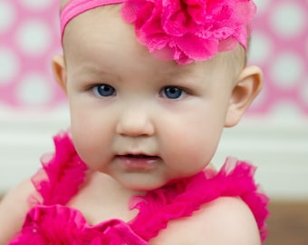 Bright Pink Baby Headband, Infant Headband, Newborn Headband - Bright Pink Headband  Frayed Chiffon and Lace Flower Headband