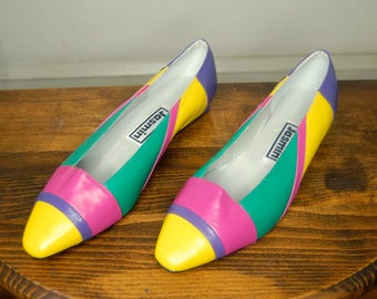 80's size 8.5 leather color block flats - never worn 80's shoes