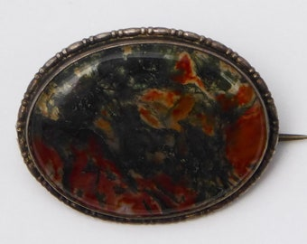 Antique Victorian Sterling Silver Moss Agate Brooch