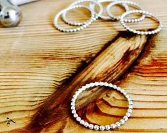 Sterling Silver Stacking Beaded Rings