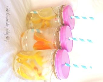 Pink Straw Hole Plastic MaSoN JaRs & LiDS---6ct--choose small or large jars-parties-weddings-showers