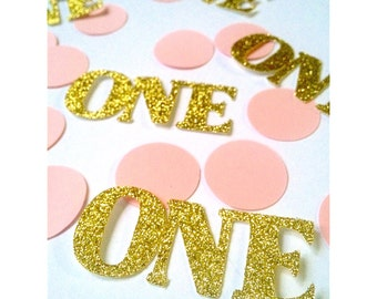 Gold and Pink 1st Birthday confetti, birthday confetti, glitter confetti, party decorations
