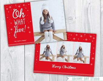 christmas photo card / christmas photo template / oh what fun template / photo template photographers / PDF flat card