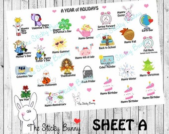 A Year of Holidays Planner Stickers for Erin Condren, Happy Planner, Kikkik, Filofax (S021)