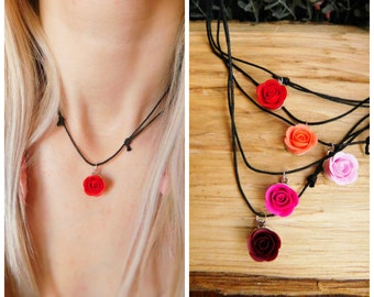 Best friend gift Choker necklace Boho choker Charm choker Birthday gift Red Pink Coral Girls jewelry Black choker Flower choker Gift for her