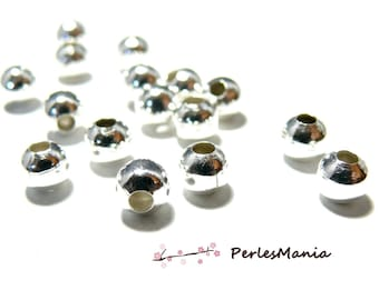 Set of 25 spacer beads 10mm bright silver colored metal