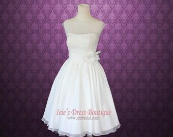 Retro Vintage 50s Short Tea Length Wedding Dress with Floral Sash | Short Wedding Dress | Reception Wedding Dress | Kathy
