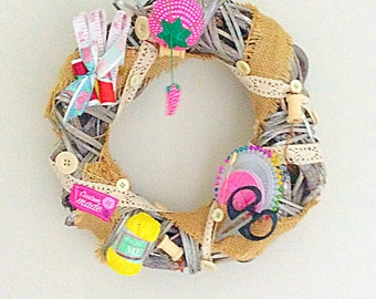 Sewing Wreath,British Sewing Bee, craft,wicker, handmade,mother,auntie,grandma,gran,birthday,craft room, craft room,