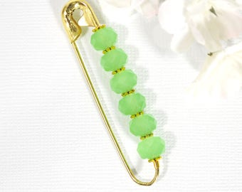 Scarf Pin Hijab Pin Green Gold Sarong Pin Green Lapel Pin Lapel Pin Brooch Decorative Pin Handmade