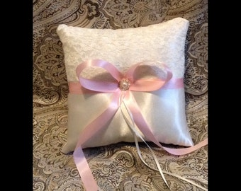 ring bearer pillow custom made pink on ivory or white lace pillow