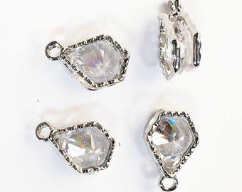 4 pcs of Cubic Zirconia  platinum color charm 13x8mm, Pentagon charm