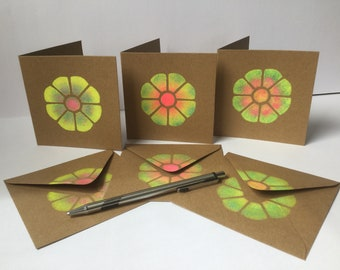 Handmade card set, Recycled card stock, Cute, Flower, Motif, Colourful, Designer, Gift, Greetings, Stencilled, Hand printed, Original, Irish