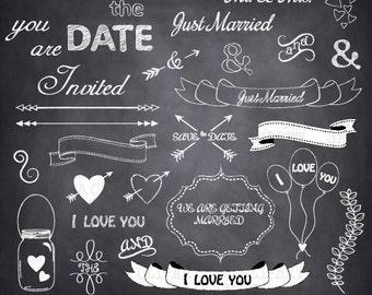 "Chalkboard Wedding Clipart ""CHALKBOARD WEDDING ""clip art,wedding font,banner clipart,save the date,Wedding,invitation Instant Download Wf050"