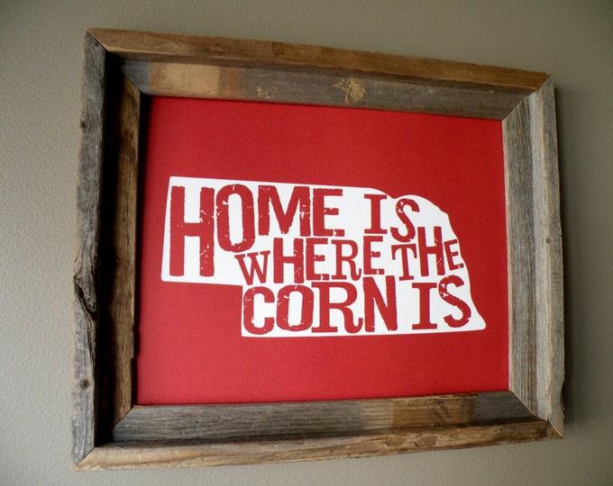 Home Is Where The Corn Is Nebraska Map Print (Red) - Unframed