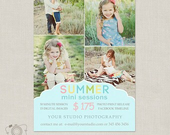 Summer Mini Session Template - Photography Marketing Board 060 - C212, INSTANT DOWNLOAD
