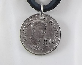 Philippines Coin Necklace, 10 Sentimos, Coin Pendant, Leather Cord, Mens Necklace, Womens Necklace, 1978