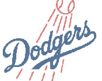 LA Dodgers Logo -- Counted Cross Stitch Chart Patterns, 2 sizes!