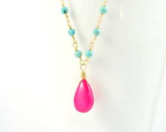 Turquoise & Hot Pink Chalcedony Gold Necklace, Bright Pink Chalcedony Teardrop and Turquoise Blue Howlite Wire Wrapped in 14k Gold Necklace