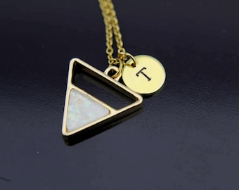 Gold Opal Triangle Charm Necklace, Geometric Charm, Opal Pendant, Triangle Charm Necklace, Geometric Necklace, Personalized Necklace