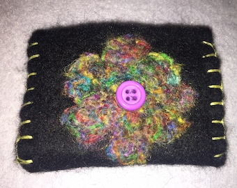 Needle felted credit card holder