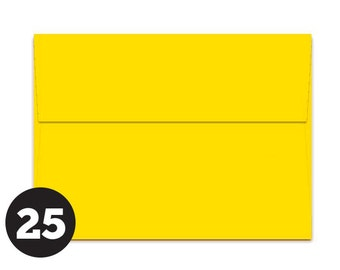 A7 Yellow Envelopes for 5 x 7 Invitations, Photos and Cards, Sunny Yellow Solar Yellow, Pack of 25