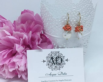 Freshwater Pearl earrings, earrings with white fresh water pearl and coral seed,gold twisted wire
