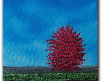 Original contemporary landscape oil painting, Abstract landscape tree art, Red tree painting, 6 x 6 x 1.5, Summer Memories