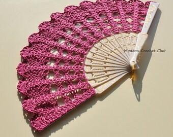 Lace Fan- Hand Held Fan- Handmade Lace Hand Fan- Folding Hand Fan- Spanish Wedding Fan- Bridal Fan- Wedding Prop- Fuchsia Valentine's Gift