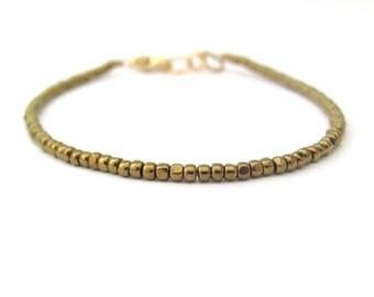 Seed Bead Bracelet, Bronze Bracelet, Bohemian Boho Stacking Layer, Friendship Bracelet, Beaded Bracelet, Minimal Bracelet, Yoga Zen
