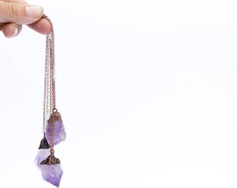 Amethyst crystal necklace | Raw amethyst pendant |  Electroformed raw amethyst necklace | Raw crystal jewelry | Raw mineral necklace
