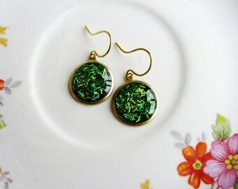 Green Earrings, Glitter Earrings, Gold Drop Earrings, Dangle Earrings, Simple Minimalist Earrings