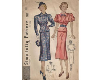 Vintage 1930s 2 Piece Dress with Peplum Pattern Bust 34 Simplicity 2339 Balloon Sleeves Uncut Vintage Sewing Pattern