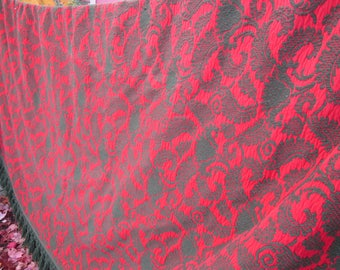 """SALE  gorgeous very very heavy bedspread green red 88"""" by 108"""" fringed"""
