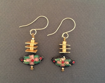 Dangle Earrings Cloisonné with Brass Drop Earrings FREE SHIPPING