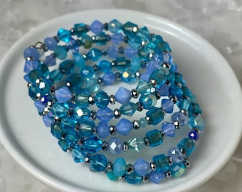 Crystal Coil Wrap Bracelet in Beachy Blues
