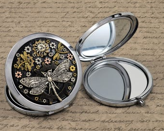 Compact Mirror, Steampunk Compact, Handmade Compact, Industrial Compact, Makeup Mirror, Themed Compact Mirror, Metal Compact Mirror
