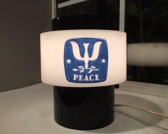 Vintage 1960s Plastic Blsck/White PEACE Lamp  - working condition