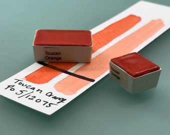Handmade Watercolor paint Toucan Orange artist paint HALF and WHOLE pans - Non toxic