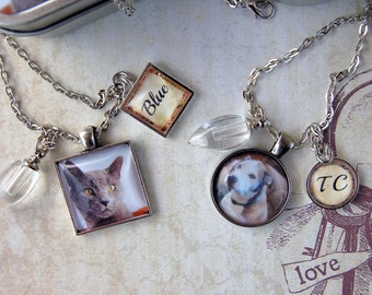 Pet Cremation Necklace  with Urn, Pet Loss Jewelry, Loss of Dog Necklace, Loss of Cat Necklace with Photo Gift Tin for Pet's Ashes