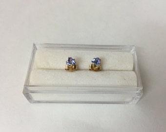 Tanzanite 14k Yellow Gold Stud Earrings Trillion Shape , 4mm