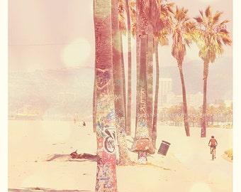 Venice Beach print, Los Angeles nursery decor, palm tree photo, pink wall art, girls room print, beach cottage decor, California photograph